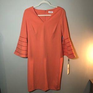 Calvin Klein Coral Bell Sleeve Bodycon Dress